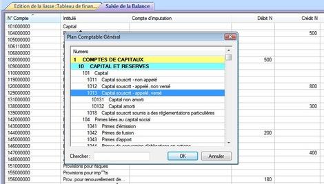 Balance et plan comptable