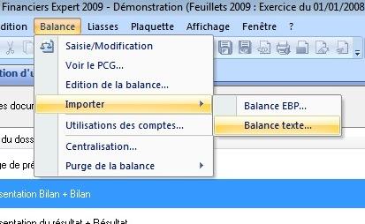 Importation d'une balance texte
